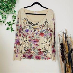 Sundance Embroidered Wild Flora Tee Top M